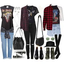 requested with band tee flannel shirt polyvore