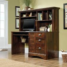 Cherry Brown Computer Desk With Hutch And Drawers  Astoriaflowers