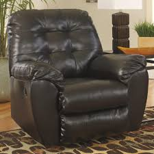 Leather Rocker Recliner Signature Design By Ashley Alliston Durablend Chocolate Rocker