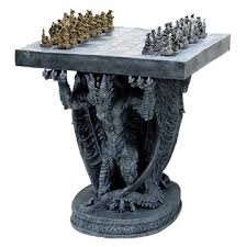 gothic dragon furniture gold and silver chess set table with