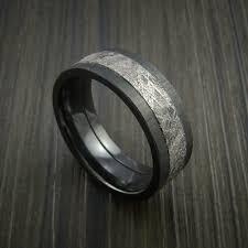 black zirconium wedding bands gibeon meteorite in black zirconium wedding band made to any