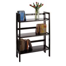 amazon com winsome wood stackable folding 3 tier shelf black