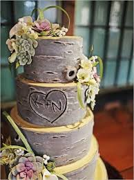 Initials Carved In Tree Tree Trunk Looking Cake With Initials Carved Wedding Pinterest