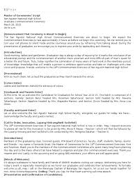 master of ceremonies script 18th commencement exercise san