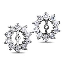 diamond earring jackets light 2 carat diamond prong set earring jackets in 10k gold