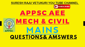 appsc aee mains mechanical u0026 civil engineering 2017 questions and