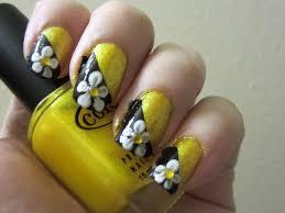 yellow u0026 black flower nail design youtube