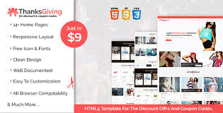 thanksgiving html5 template for the discount offers and coupon