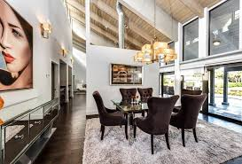 Modern Mirrors For Dining Room Modern Dining Room With Carpet U0026 Exposed Beam In Gulf Stream Fl