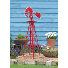 8ft ornamental garden windmill u2014 red and white www kotulas com