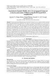 Academic Advisor Resume Examples by Assessment Of Genetic Fidelity Of In Vitro Propagated Clones Of Celas U2026