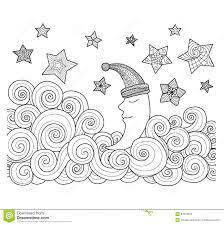 moon sleeping among stars zentangle design for coloring book for