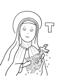 little flower with st therese of lisieux coloring page eson me