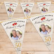 personalised golden 50th wedding anniversary photo flag bunting