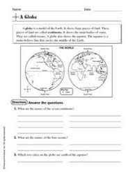globe and maps worksheet a globe worksheet for 3rd 4th grade lesson planet