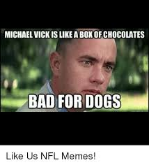 Mike Vick Memes - michael vick is likeaboxofchocolates bad for dogs like us nfl