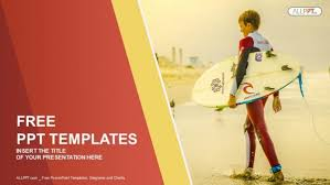 surfer holding a surf board sports powerpoint templates