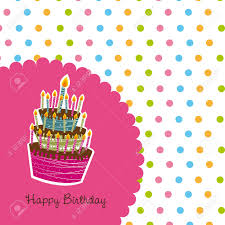 happy birthday card with cute cake background royalty free