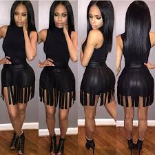 2017 trendy black night club dress with high neck sleeve leather