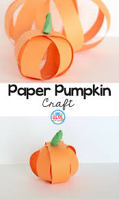 paper strip pumpkin craft a dab of glue will do