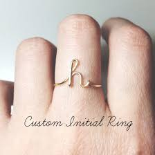 custom initial ring sterling silver letter ring gold fill