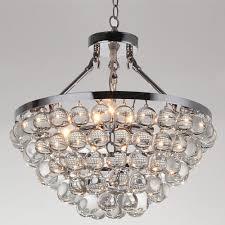 Crystal Chandeliers Belle 5 Light Chrome Opulent Spherical Glass Crystal Chandelier