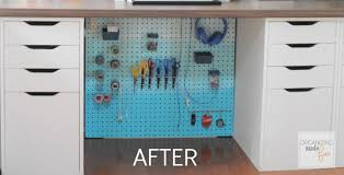 how to organize cables under desk how to hide messy cords with pegboard organizing made fun how to