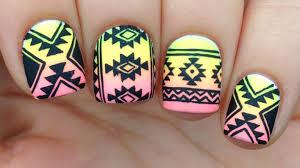 nail art tutorial tribal aztec print over neon gradient youtube