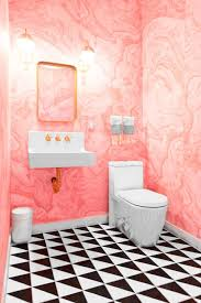 Black And Pink Bathroom Ideas Flamingo Pink Bathroom With Black And White Tile Floor Pink Is