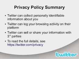 Twitter terms of service and privacy policy analysis