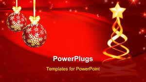 powerpoint template christmas tree with stars and decoration on