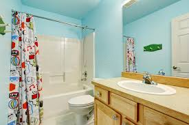 Kid Bathroom Shower Curtains Bathroom In Blue Tones With Wooden Cabinets And Colorful