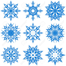 vector illustration of a set of snowflakes royalty free cliparts