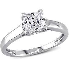 princess cut white gold engagement ring miabella 1 carat t g w princess cut created white sapphire 10kt