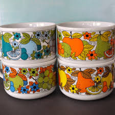 vintage fruity soup mugs set best vintage and kitchens ideas