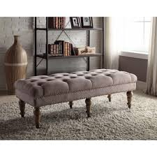 linon home decor isabelle washed taupe bench 368253taup01u the