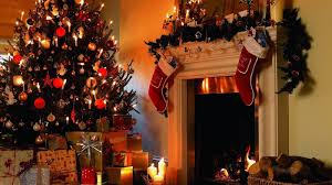 sevenfold christmas tree and fireplace wallpaper