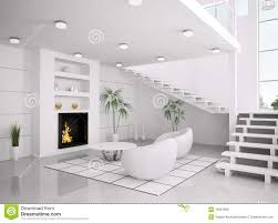 modern white interior of living room 3d render royalty free stock