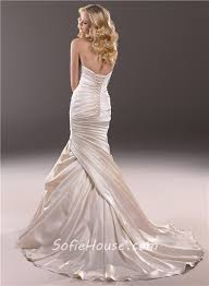 mermaid sweetheart champagne satin fit and flare wedding dress