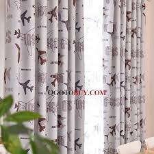 Curtains For Kids White Room Darkening Plane Print Buy White - Room darkening curtains for kids