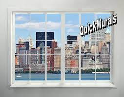 new york city skyline window 1 peel stick 1 piece wall mural