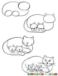 imágenes de gatos fáciles para dibujar como aprender a dibujar una gata con gatitos para pintar y colorear