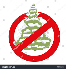 prohibition sign christmas tree vector illustration stock vector