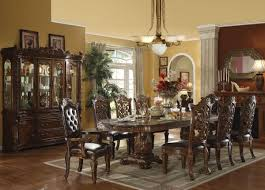 Antique Furniture Dining Room Set by Carved Brown Stained Teak Wood Dining Table Under Antique