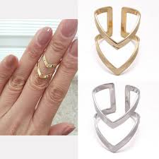 double knuckle rings images Lines v chevron over midi tip finger above the knuckle open band jpg