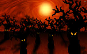 spooky desktop wallpaper spooky forest dead trees mystic halloween stock photo 566088586
