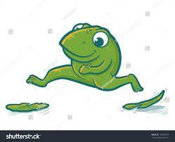 cute toad character hopping on lily stock vector 167397674