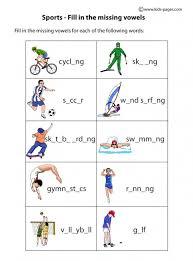 sports fill in worksheets engels pinterest