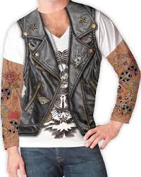 spirit halloween headquarters biker with tattoo sleeves men u0027s t shirt at spirit halloween