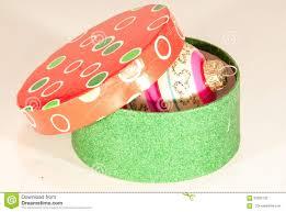 round box with christmas tree decor ball stock photo image 56285732